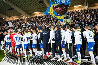Norrköping tackar publiken efter fotbollsmatchen i Allsvenskan mellan Häcken och Norrköping den 11 november 2018 i Göteborg.